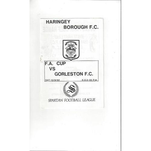 1992/93 Haringey Borough v Gorleston FA Cup Football Programme