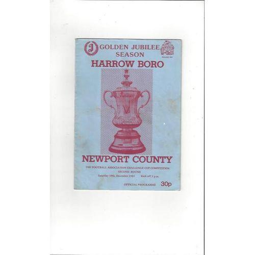 Harrow Borough v Newport County FA Cup Football Programme 1983/84