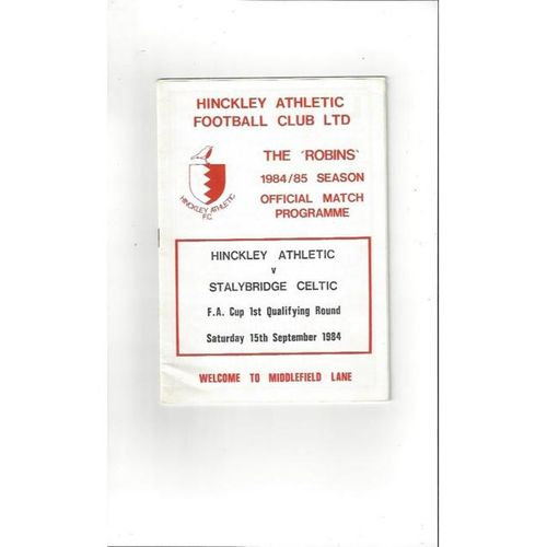 1984/85 Hinckley Athletic v Stalybridge Celtic FA Cup Football Programme