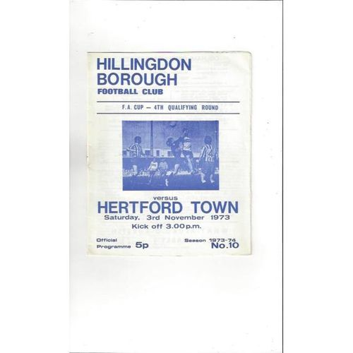 1973/74 Hillingdon Borough v Hertford Town FA Cup Football Programme