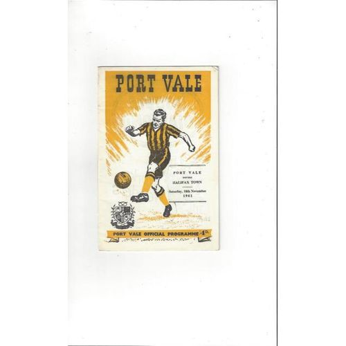 1961/62 Port Vale v Halifax Town Football Programme