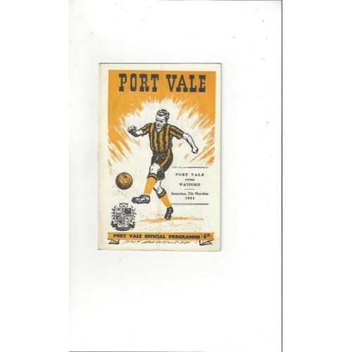 1961/62 Port Vale v Watford Football Programme