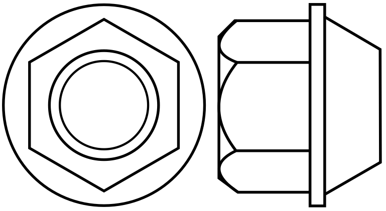 Hexagon Wheel Nut with a flange and 60 degree cone conical Section