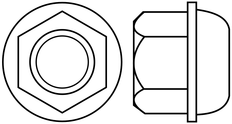 Hexagon Wheel Nut with a flange and radius seat section