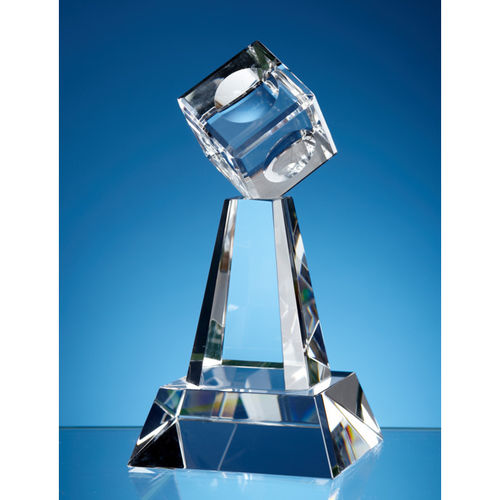 Optical Crystal Cube Column Award 16cm