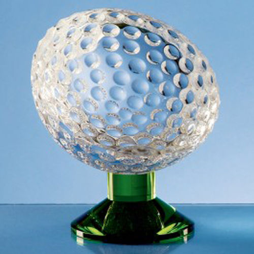 Optical Crystal Golf Ball on Green Base 13cm