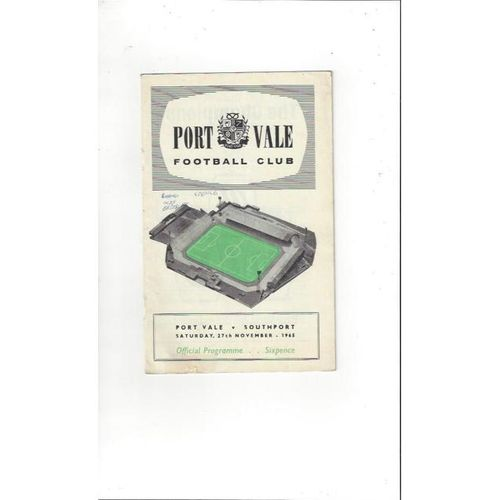 1965/66 Port Vale v Southport Football Programme