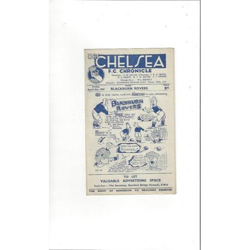 1946/47 Chelsea v Blackburn Rovers Football Programme