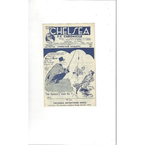 1946/47 Chelsea v Charlton Athletic Football Programme