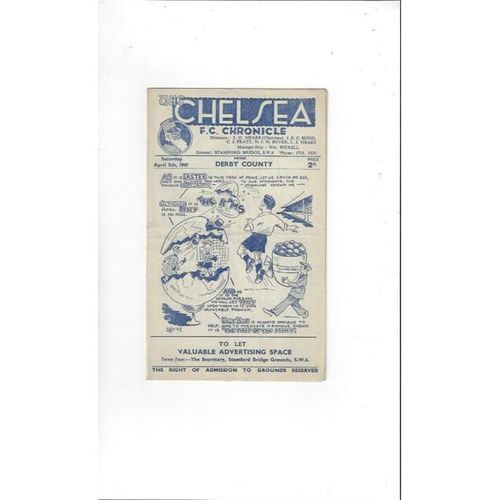 1946/47 Chelsea v Derby County Football Programme