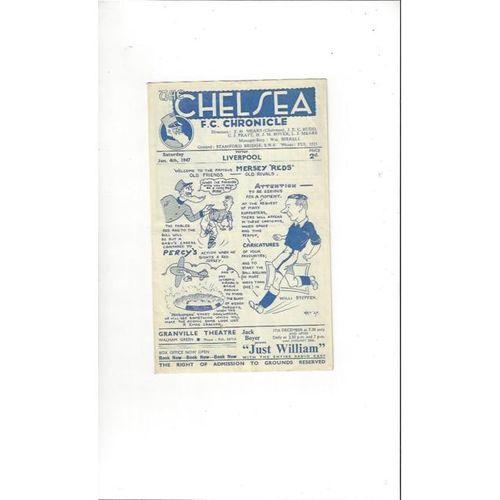 1946/47 Chelsea v Liverpool Football Programme