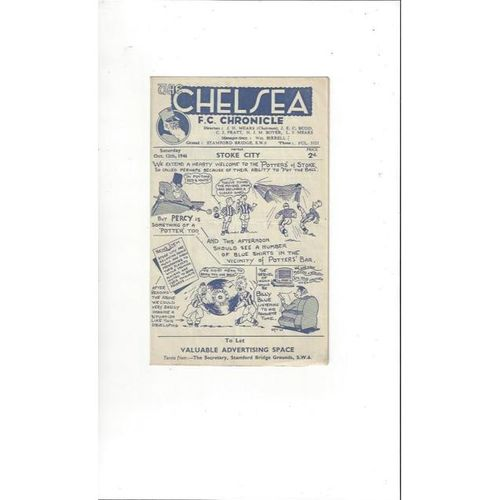 1946/47 Chelsea v Stoke City Football Programme