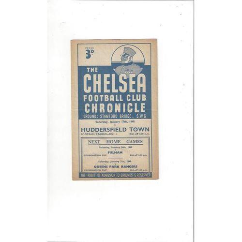 1947/48 Chelsea v Huddersfield Town Football Programme