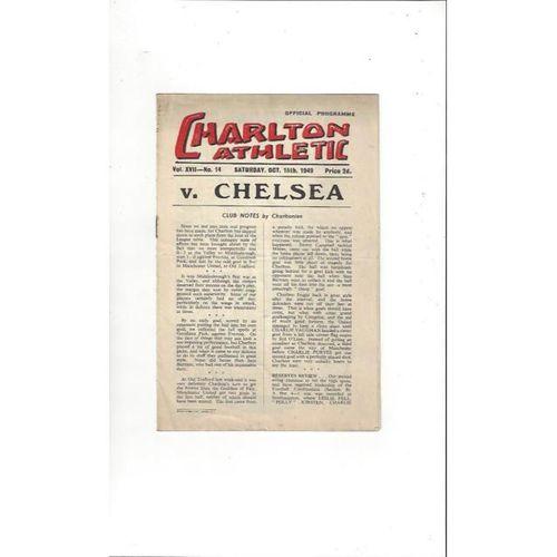 1949/50 Charlton Athletic v Chelsea Football Programme