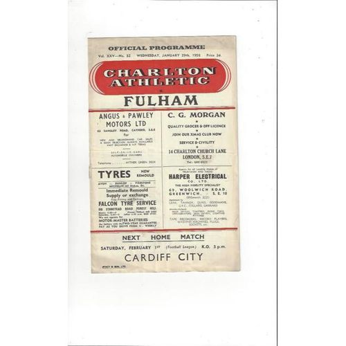 1957/58 Charlton Athletic v Fulham FA Cup Replay Football Programme