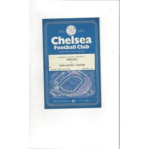 1953/54 Chelsea v Newcastle United Football Programme