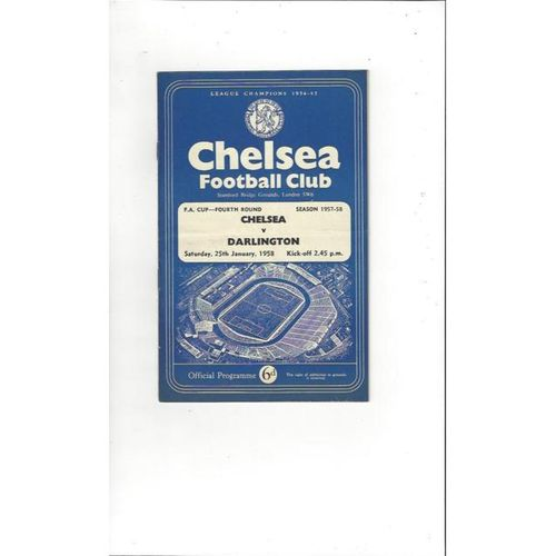 1957/58 Chelsea v Darlington FA Cup Football Programme