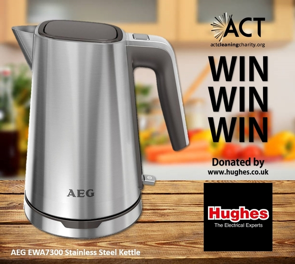 WIN - AEG Brushed Stainless Steel Cordless Kettle