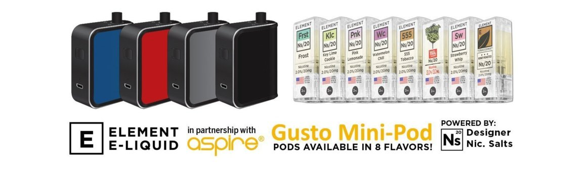 Aspire Gusto Mini and Elements NS20 Designer Nicotine Salts Pods