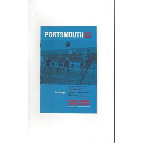 1969/70 Portsmouth v Watford Football Programme