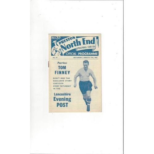 1961/62 Preston v Rotherham United Football Programme
