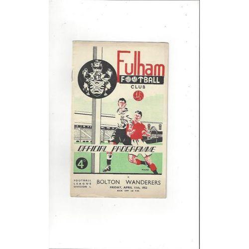 1951/52 Fulham v Bolton Wanderers Football Programme