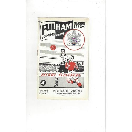 1953/54 Fulham v Plymouth Argyle Football Programme