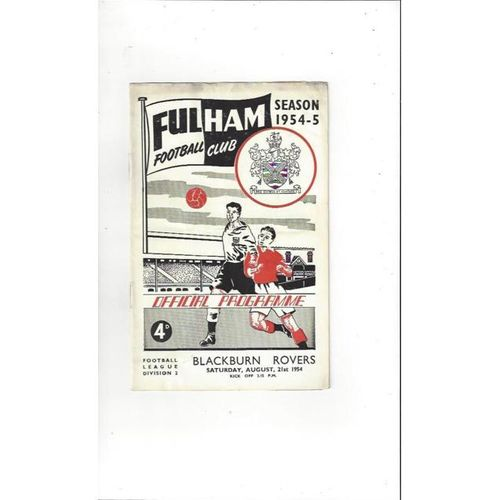 1954/55 Fulham v Blackburn Rovers Football Programme