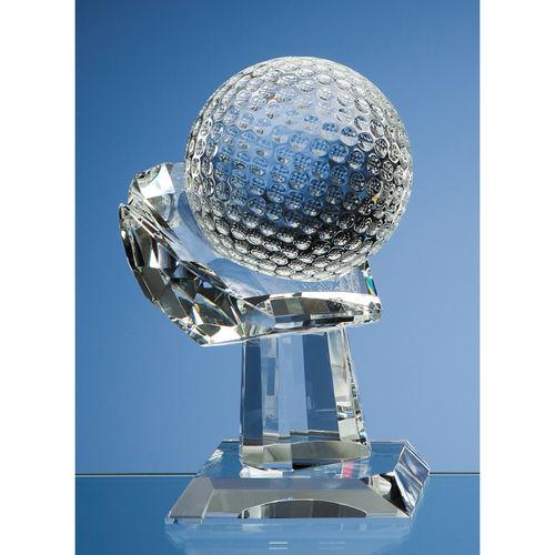 10cm Optical Crystal Golf Ball on Mounted Hand Award