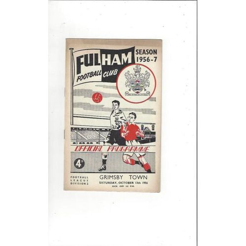1956/57 Fulham v Grimsby Town Football Programme