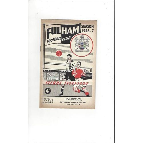 1956/57 Fulham v Liverpool Football Programme