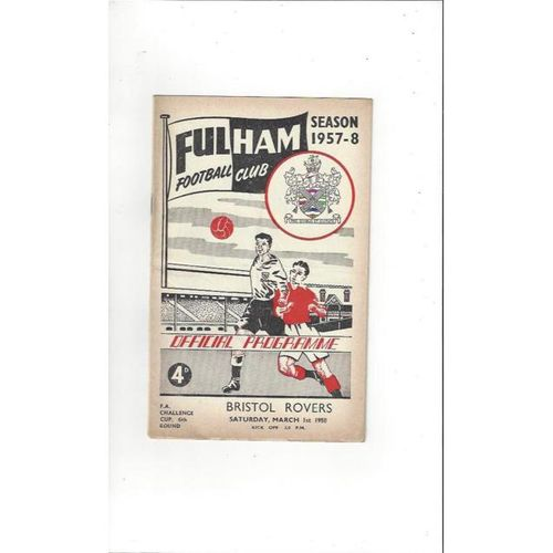 1957/58 Fulham v Bristol Rovers FA Cup Football Programme