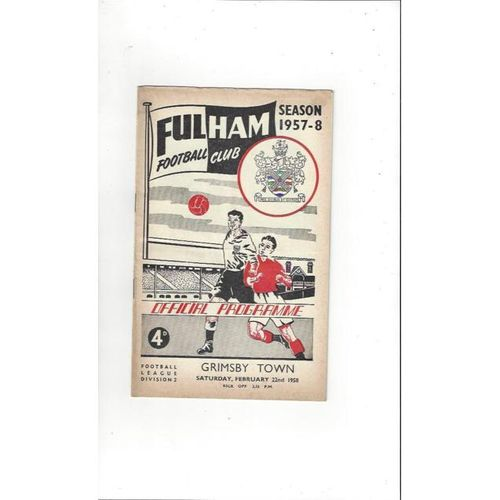1957/58 Fulham v Grimsby Town Football Programme
