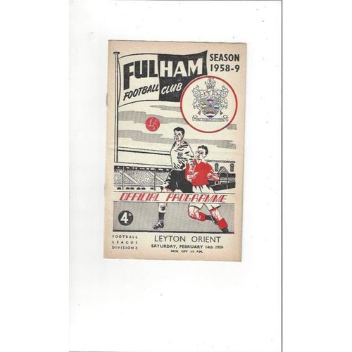 1958/59 Fulham v Leyton Orient Football Programme