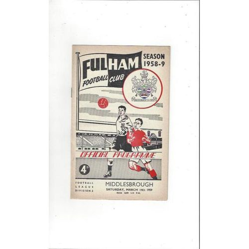 1958/59 Fulham v Middlesbrough Football Programme