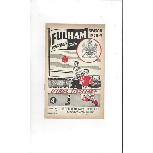 1958/59 Fulham v Rotherham United Football Programme