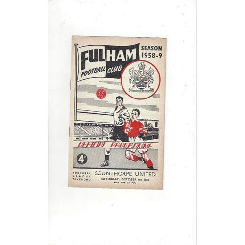 1958/59 Fulham v Scunthorpe United Football Programme