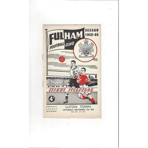 1959/60 Fulham v Luton Town Football Programme