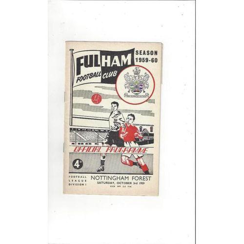 1959/60 Fulham v Nottingham Forest Football Programme