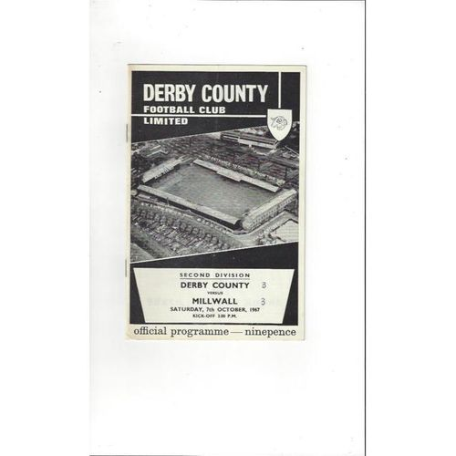 1967/68 Derby County v Millwall Football Programme
