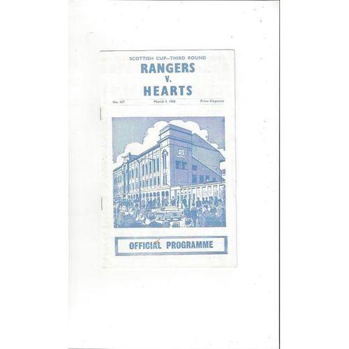1967/68 Rangers v Hearts Scottish Cup Football Programme