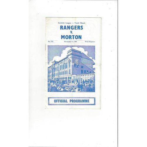 1967/68 Rangers v Morton Football Programme
