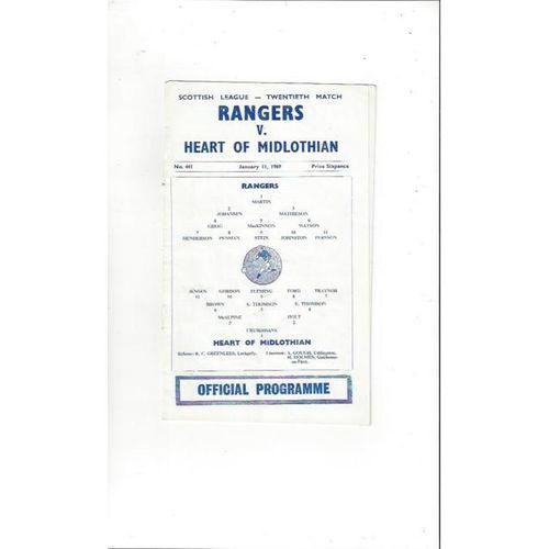 1968/69 Rangers v Hearts Football Programme