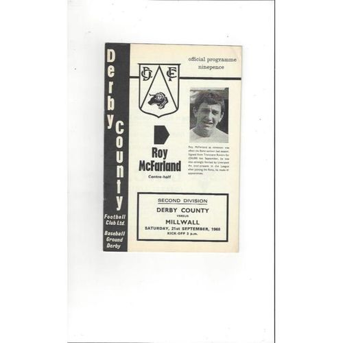 1968/69 Derby County v Millwall Football Programme