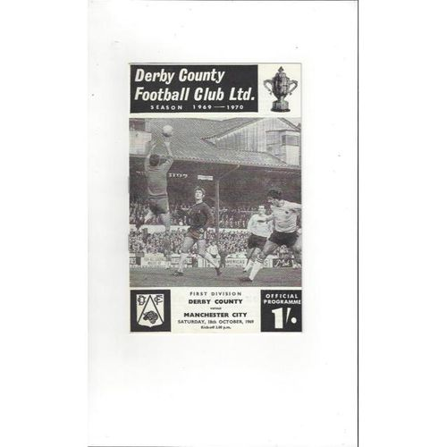 1969/70 Derby County v Manchester City Football Programme