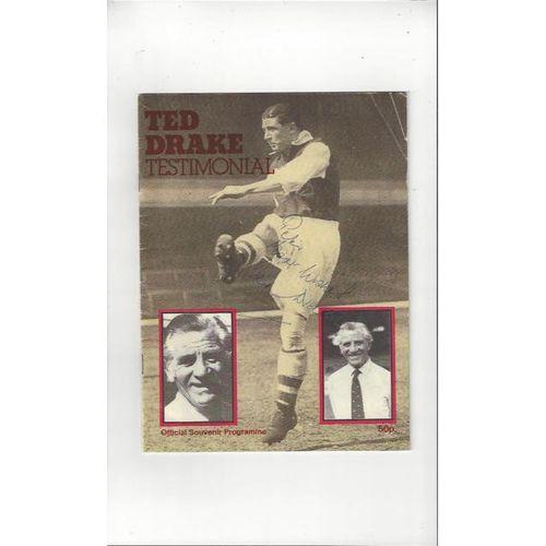 1979/80 Arsenal v Fulham Ted Drake Testimonial Autographed