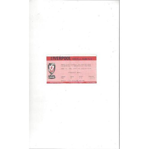 Liverpool v Sheffield United Match Ticket Stub 1991/92