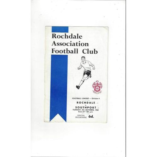 1965/66 Rochdale v Southport Football Programme