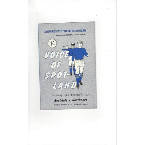 1969/70 Rochdale v Southport Football Programme