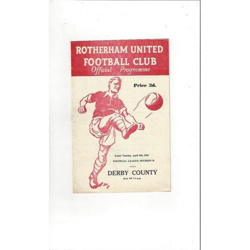 1960/61 Rotherham United v Derby County Football Programme